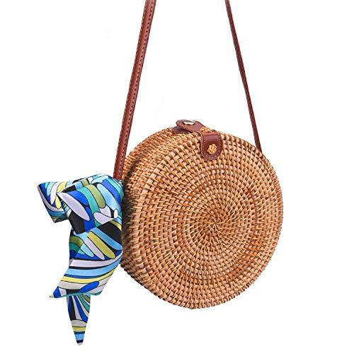 (Round Rattan Bags, Heegay Sholov Handmade Bali Ata Straw Woven Circle Crossbody Handag for Women with Shoulder Leather)