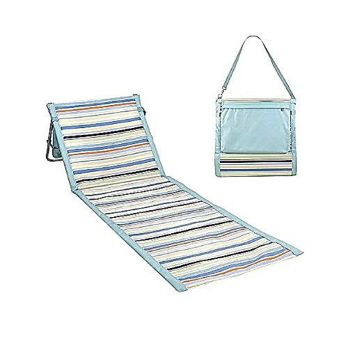 Jef Reclining Beach Mat Summer Pοlyester Striped Padded Woven Roll Up Gripping Folding Modern Long Picnic Camping Adjustable Portable Comfortable & eBook By JEFSHOP. by Jef