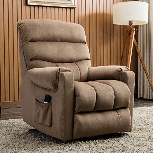 ANJ Power Lift Recliner Chair for Elderly - Heavy Duty and Safety Motion Reclining Mechanism-Antiskid Fabric Sofa Living Room Chair, Light Brown