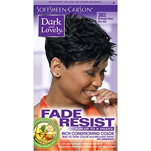 Permanent Hair Color by Dark and Lovely Fade Resist I Up to 100% Gray Coverage Hair Dye I Midnight Blue 382 I SoftSheen-Carson I Packaging May Vary (Midnight Blue Hair Dye On Black Hair)