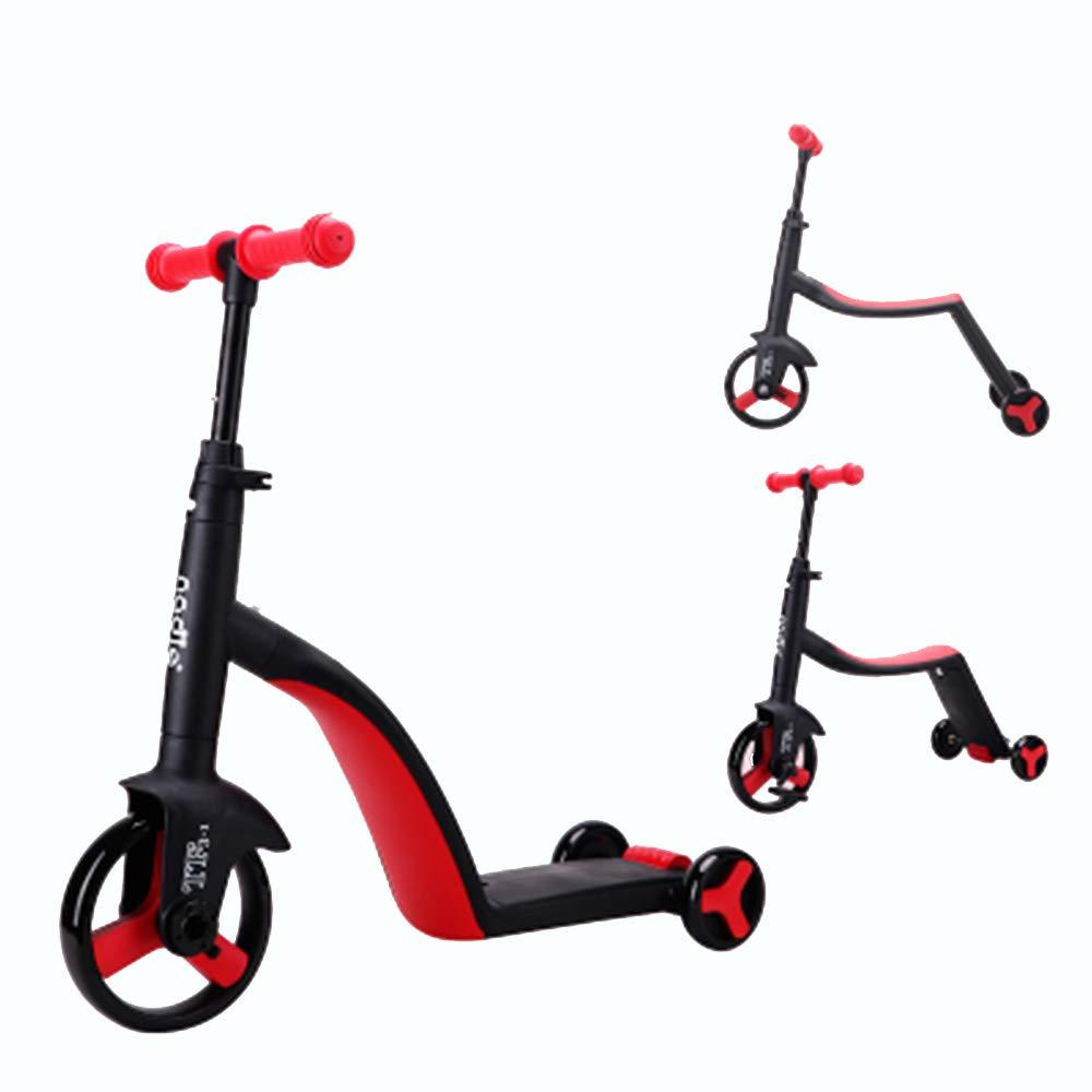 LXWM Balance Bike 3 En 1 Conversión Tres Ruedas Scooter Ride A Bike Triciclo Al Aire Libre Baby Ride En Juguetes Cochecito,Red
