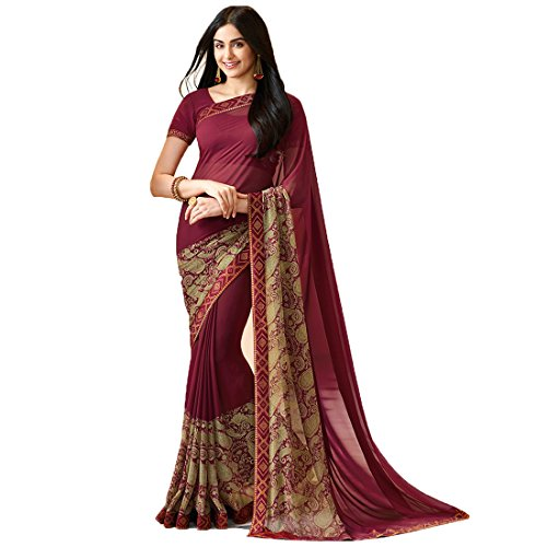 Sari Fashion New Eid Collection Indian/Pakistani Designer Ethnic Simple Look Saree Starwaik 31 (Maroon)