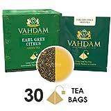 Earl Grey Citrus Green (30 Tea Bags), Green Tea Leaves from the Himalayas blended with Natural Bergamot Oil - Finest Earl Grey Tea Bags, Long Leaf Bergamot Tea Bags, Detox Tea & Slimming Tea