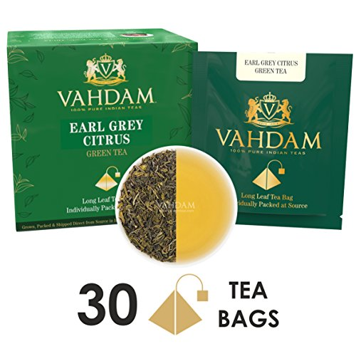 en (30 Tea Bags), Green Tea Leaves from the Himalayas blended with Natural Bergamot Oil - Finest Earl Grey Tea Bags, Long Leaf Bergamot Tea Bags, Detox Tea & Slimming Tea ()
