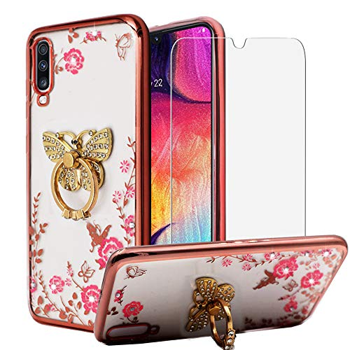 BestShare for Samsung Galaxy A50 Case & Tempered Glass Screen Protector, Bling Crystal Soft Clear Silicone Back Slim Fit Case Kickstand Cover & Flexible Metal Ring Holder Grip, Butterfly
