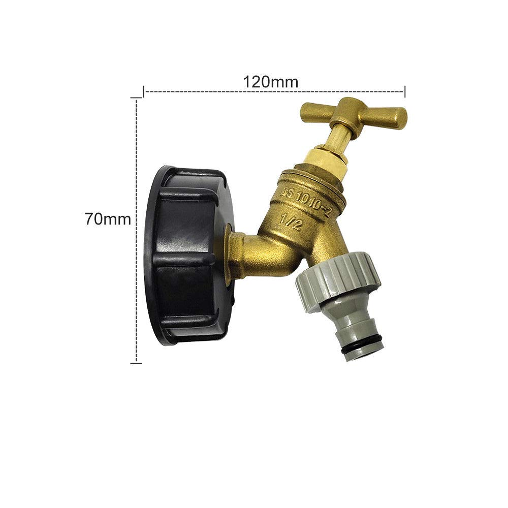 SENRISE IBC Tank Adapter IBC Tote Tank Drain Adapter S60X6 to Brass Garden Tap with 1//2 Hose Fitting Oil Fuel Water