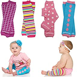 Newborn Organic Baby Leg Warmers (Newborn-15 pounds) (Organic Girls - 4 Pack)