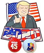 Donald Trump 2020 Gift Set with Car Magnet and Novelty Golf Balls