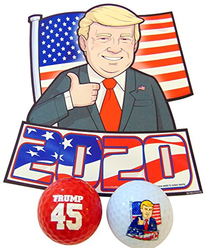 (Donald Trump 2020 Gift Set with Car Magnet and Novelty Golf Balls)