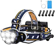 Brightest Headlamp,Super Bright 18000 Lumen 6 LED Work Headlight With Red Warning Lihgt 8 Modes Rechargeable W