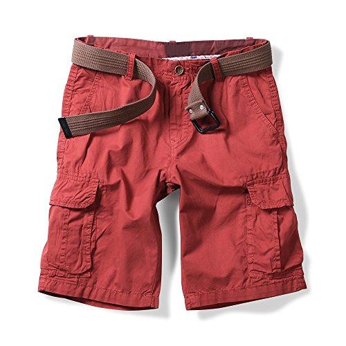 (OCHENTA Men's Lightweight Multi Pocket Casual Cargo Shorts Solid Red US 29 - Tag 30)