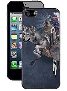 Hot Buckles Native Warrior and Wolf Iphone 5 Case - (Black)