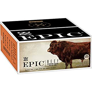 EPIC Beef Habanero Cherry Walnut Protein Bars, Grass-Fed, 12Ct Box 1.5oz bars