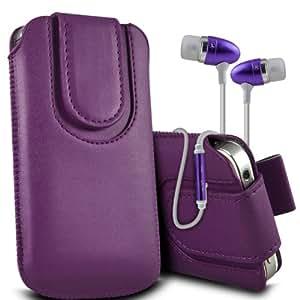 Nokia Lumia 520 premium protección PU botón magnético ficha de extracción Slip Cord En Caso Rápido cubierta de la bolsa del bolsillo de la Piel y superior de la calidad en auriculares de botón estéreo de manos libres de auriculares Auriculares con micrófono Mic y botón de encendido-apagado Dark Purple por Spyrox