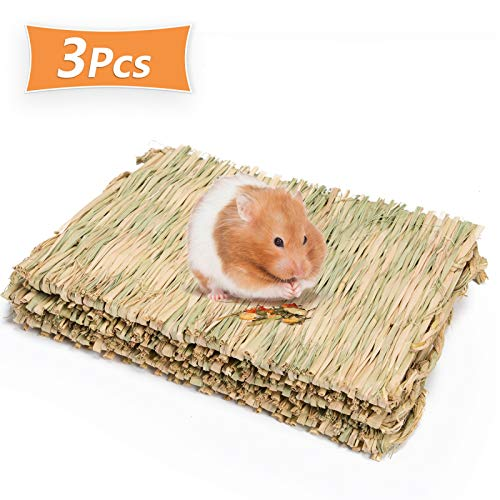 Timoo Rabbit Cage Mat, Natural Woven Grass Bed for Bunny, Guinea Pig, Rat, Hamster, Chinchillas, Ferret & Other Small Animal – Safe Chew Toy (3 Pcs)