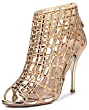Littleboutique Embellished Cutout High Heel Bootie Rhinestone Studded Sandal Heels Dress Sandal gold 9