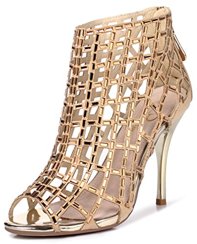 Littleboutique Embellished Cutout High Heel Bootie Rhinestone Studded Sandal Heels Dress Sandal gold 8
