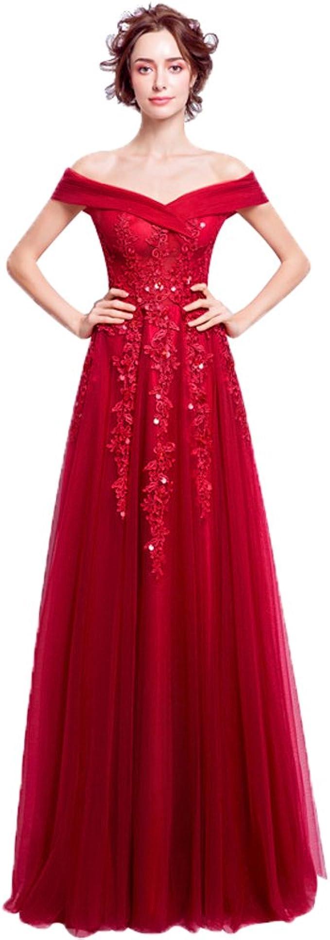 nymph Damen Ärmellos aus Schulter Lang Ballkleid Abendkleider Rot