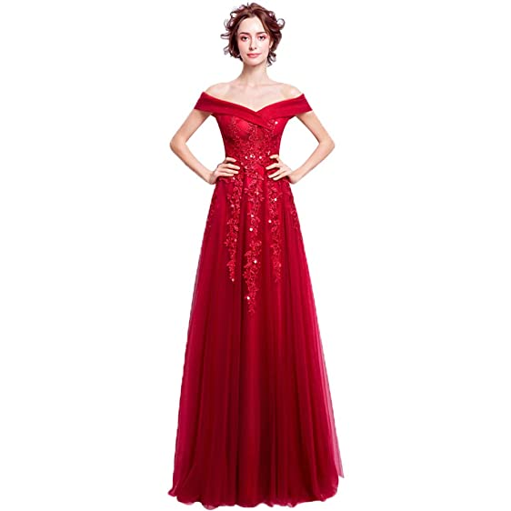 nymph Women\'s Off Shoulder Beading Lace Tulle Formal Evening Gowns ...