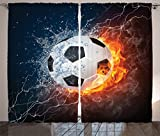 Cheap Ambesonne Sports Decor Collection, Soccer Ball on Fire and Water Flame Splashing Thunder Lightning Abstract Image, Living Room Bedroom Curtain 2 Panels Set, 108 X 84 Inches, Orange Navy White