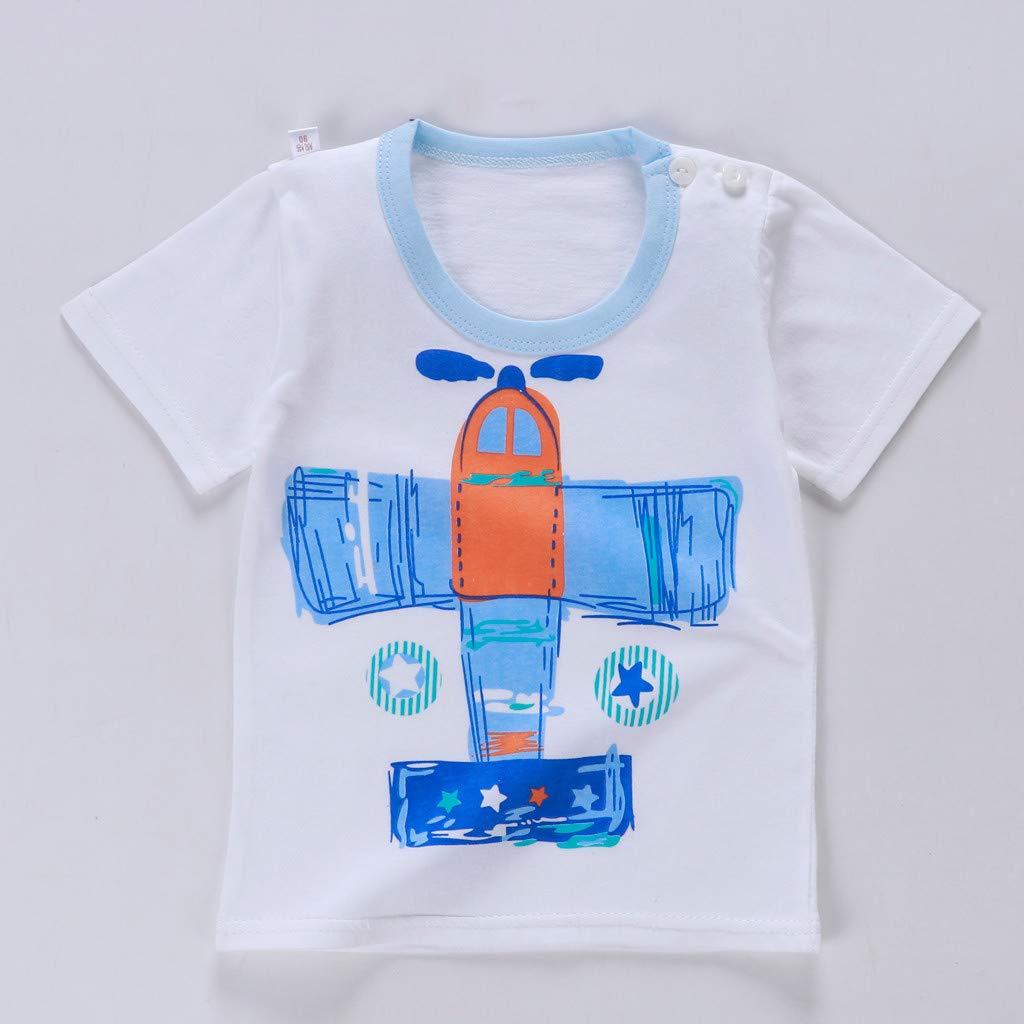 Sannysis 6m-3t Children Short-Sleeved Cartoon Airplane Jacket + Shorts Two-Piece Suit