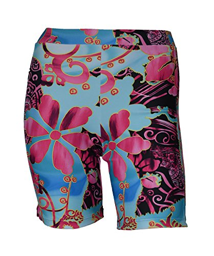 Private Island Hawaii UV Women Rash Guard Skinny Shorts Pants (X-Large, SkyBlue with Pink)