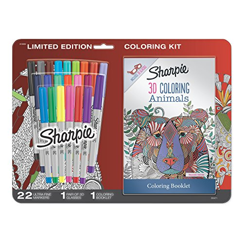 Sharpie Permanent Markers, Ultra Fine Point, Assorted Colors with 3D Animals Adult Coloring Booklet, 24 Count ()