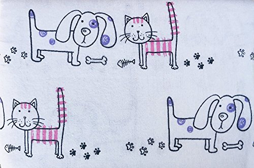 NATE & NAT Kids Cats & Dogs Flannel Sheet Set - FULL SIZE (all cotton flannel) by Nate and Nat (Image #1)