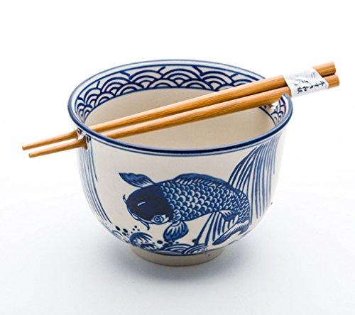 Quality Japanese Ramen Udon Noodle Bowl with Chopsticks Gift Set 5 Inch Diameter (Koi Design) - Oriental Chopsticks