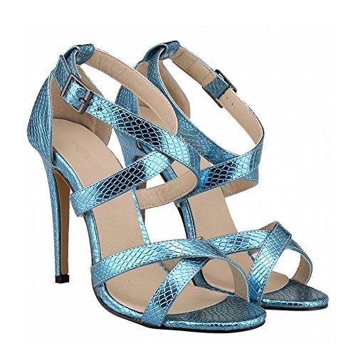 Haodasi Summer New Women Crocodile Pattern High Heels Stilettos Sandals Peep Toe Shoes Blue hRxlZ