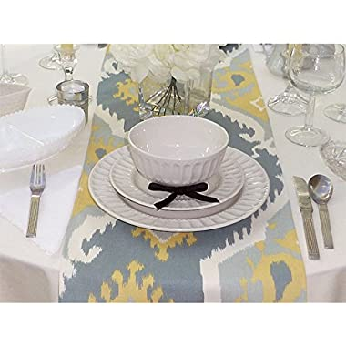 Appleberry Attic Ikat Table Runner Collection (Grey & Yellow) Handmade in USA