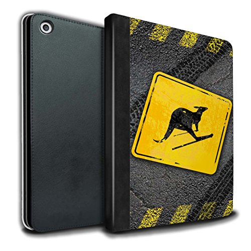 Kangaroo Road Sign (STUFF4 PU Leather Book/Cover Case for Apple iPad 9.7 (2017) tablets / Skiing Kangaroo Design / Funny Road Signs Collection)