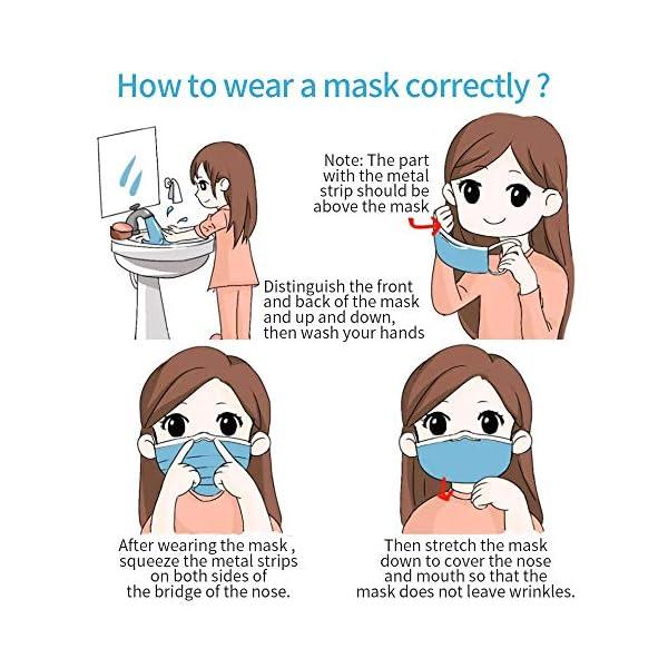 Máscaras desechables, máscara sellada con bucle elástico para los oídos, 3 capas transpirables, cómoda máscara sanitaria para uso al aire libre, oficina en el hogar-10 Pcs 4