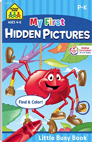 School Zone - My First Hidden Pictures Workbook - Ages 4 to 6, Preschool to Kindergarten, Activity Pad, Search & Find, Picture Puzzles, Coloring, and More (School Zone Little Busy BookTM Series)]()