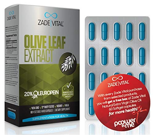 Zade Vital Olive Leaf Extract, Include 20% Oleuropein for Immune System, Heart Health & Antioxidant Support, Dietary Supplement, 60 Veg. Hard Capsules, Non GMO, Kosher, GMP, 1 Month Supply, Free Gift