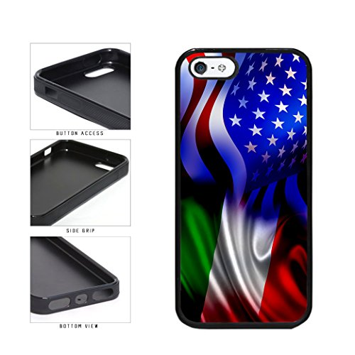BleuReign(TM) Italy and USA Mixed Flag TPU RUBBER SILICONE Phone Case Back Cover Apple iPhone 5 5s and iPhone SE