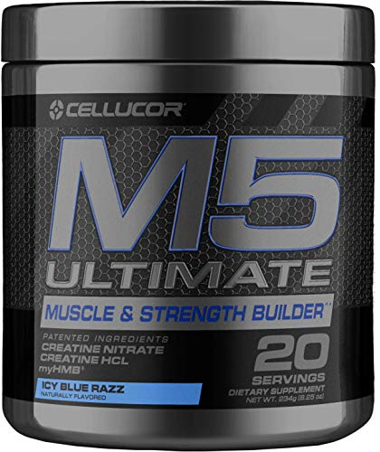 Cellucor C4 Ultimate M5 Pre Workout Powder, Muscle & Strength Builder with Creatine Nitrate, Creatine Hcl and Myhmb, ICY Blue Razz, 20 Servings
