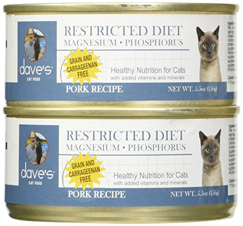 Dave'S Restricted Magnesiumdiet, Pork Dinner For Cats, 5.5 Oz Can (Case Of 24 ) (Daves Pet Food Restricted Diet Protein And Phosphorus)