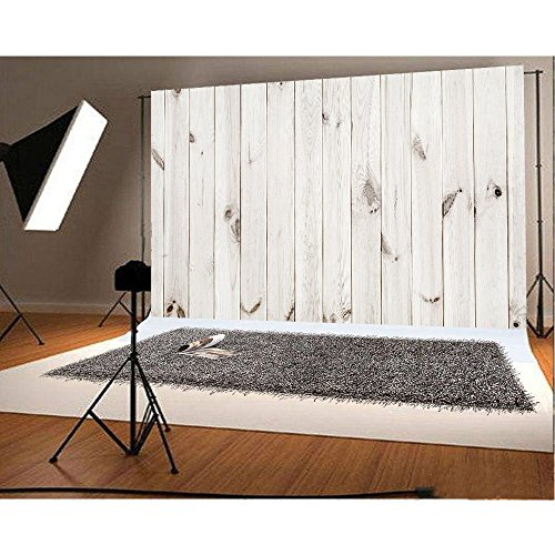 ANVOT Photography Backdrop, 7x5 ft White Wooden Board Backdrop For Studio Props Photo Backdrop ()
