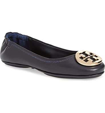 24419835e Image Unavailable. Image not available for. Color  Tory Burch Minnie Travel  Ballet Perfect Navy Flat ...