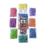 3200 Tie Dye Rainbow Colored Loom Band Refill Kit - 8 Brilliant Tie Dye Colored Rubber Bands Conveniently Separated - 400 of Each Mixed Color - FREE BONUS 100+ Clips and 50+ Charms - Refill your Loom Band Organizer Today!
