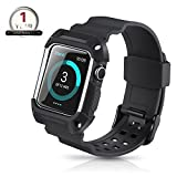 Apple Watch Band 42mm Protective Case,Youkex Replacement Straps with Rugged Shock-proof Case Cover for iWatch Series 1 Series 2 Series 3 and Sport Edition (Black/White)