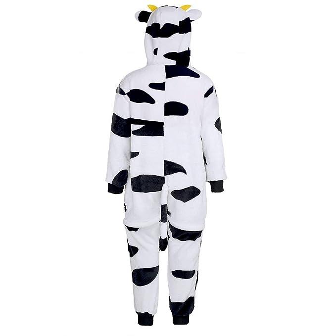 f6de110af0 Agoky Pijama Vaca Forro Polar Franela para Niña Niño Mono Animal Unisex con Capucha  Cálido Peluche Disfraz Cosplay Body Ropa de Dormir Traje Infantil ...