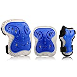 Kids Protective Gear Set, Safety Pad Safeguard Support Pad for Knee, Elbow Pads and Wrist Guards for Rollerblading, Skating, Volleyball, Basketball, BMX(One Size, Blue)