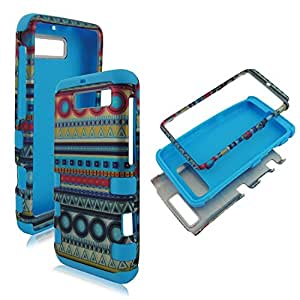 Hybrid 3 in 1 Blue Red Circle Tribal Motorola Electrify M Xt901 U.s Cellular High Impact Shock Defender Plastic Outside with Soft Silicon Inside Drop Defender Snap-on Cover Case