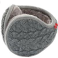 Womens Mens Winter Earmuffs Foldable Knit Fleece Lined Ear Warmers Cashmere Thermal Ear Cover Wrap