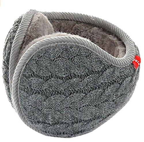 Unisex Winter Outdoor Earmuffs Foldable Wool Knit Fleece Lined Ear Warmers Thick Cashmere Woolen Thermal Ear Cover Wrap Adjustable Cold Weather Ski Snow Warm Ear Muffs Accessory for Women&Men (Grey)