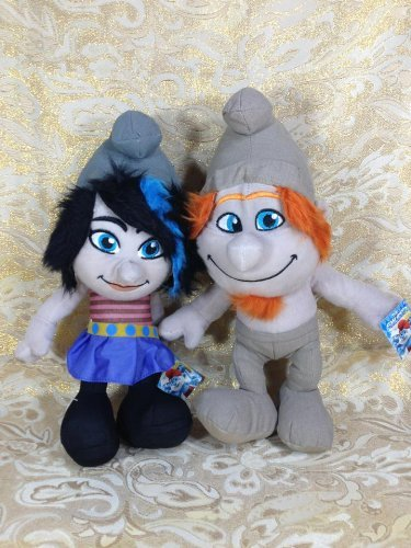 Licensed Set of 2 Smurfs 2 Naughties Hackus and Vexy Grey Smurfs 14'' Plush by Kelly Toy