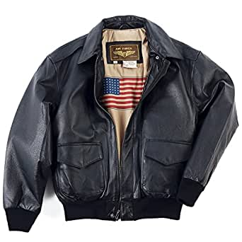 Landing Leathers Men's Air Force A-2 Leather Flight Bomber Jacket - Black XS