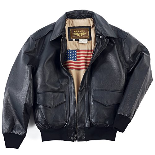 Landing Leathers Mens Air Force A-2 Leather Flight Bomber Jacket,Black,X-Large